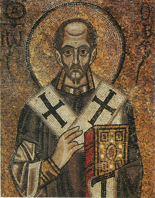 Святитель Иоанн Златоуст. Мозаика Софии Киевской (XI век)