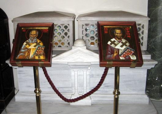 Мощи святителей Григория Богослова и Иоанна Златоуста в соборе св. Георгия на Фанаре, Константинополь
