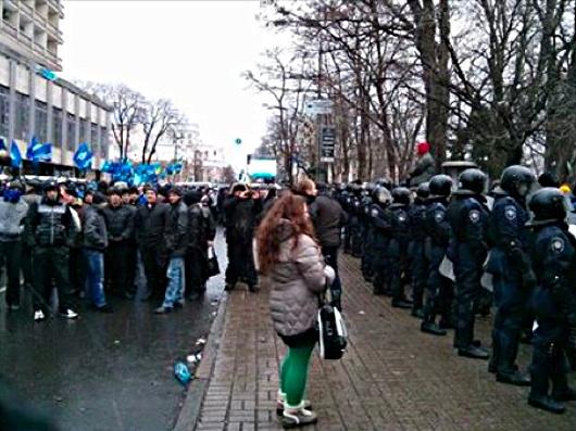 Митингующие в поддержку правительства, Киев, ул. Грушевского, 8 декабря 2013