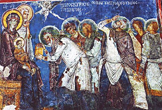 Поклонение волхвов. Фреска. Каппадокия, XII век