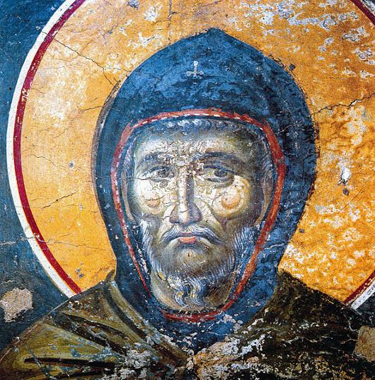Прп. Ефрем Сирин. .Фреска церкви Успения Богородицы в Протате. Афон