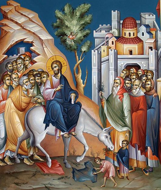 Вход Господень в Иерусалим. Фреска работы Мамациоса Георгиоса