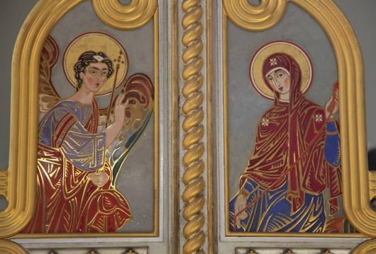 Благовещение. Эмаль. Царские врата Спасо-Преображенского собора в Киеве