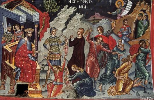 Побиття немовлят у Вифлеємі. Афон, собор монастиря Діонісіат, середина XVI ст.