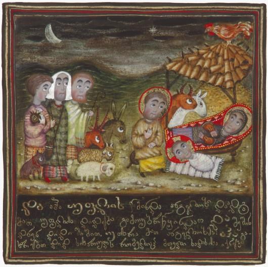 Поклоніння царів (волхвів). Картина Давида Попіашвілі