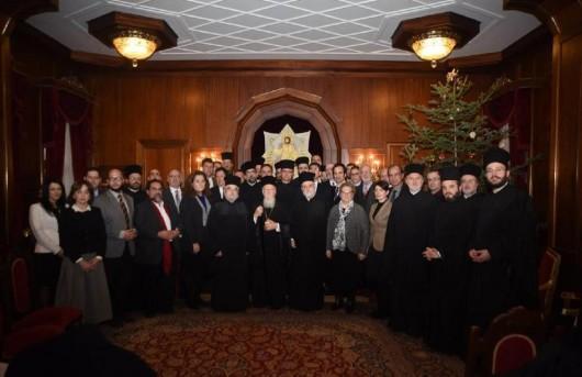 Вселенский патриарх Варфоломей и его клирики с международной группой 30 православных ученых. Специальная встреча на Фанаре, Стамбул, Турция, 5 января 2016