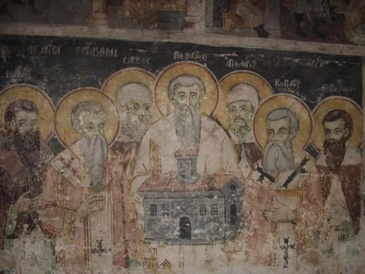 Кирилл и Мефодий с учениками. Фреска, монастырь св. Наума Охридского