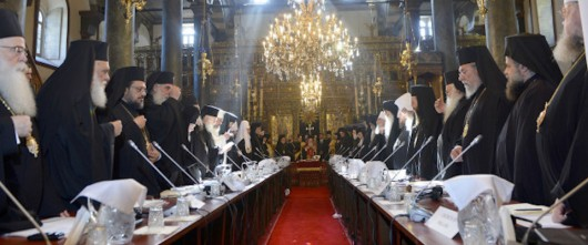 ISTANBUL, TURKEY - MARCH 6: Fourteen Orthodox Church patriarchs and archbishops gather in Church of St. George upon the invitation of Greek Orthodox Patriarch Bartholomew in Istanbul, Turkey, on March 6, 2014. (Photo by Erhan Elaldi/Anadolu Agency/Getty Images)